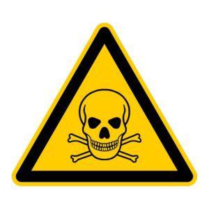 Symbol für Gift. Schwarzer Totenkopf auf gelbem Warnschild