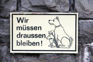 Schild für Hundebesitzer - Hunde müssen draußen bleiben